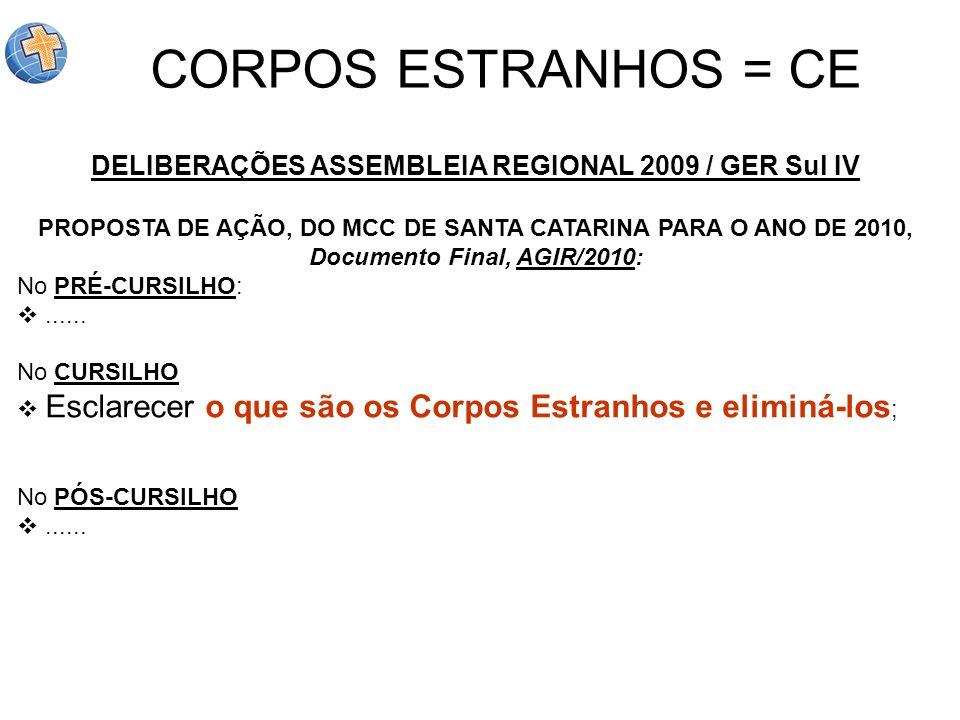 DELIBERAÇÕES ASSEMBLEIA REGIONAL 2009 / GER Sul IV PROPOSTA DE AÇÃO, DO MCC DE SANTA CATARINA PARA O ANO DE 2010, Documento Final, AGIR/2010: No PRÉ-C