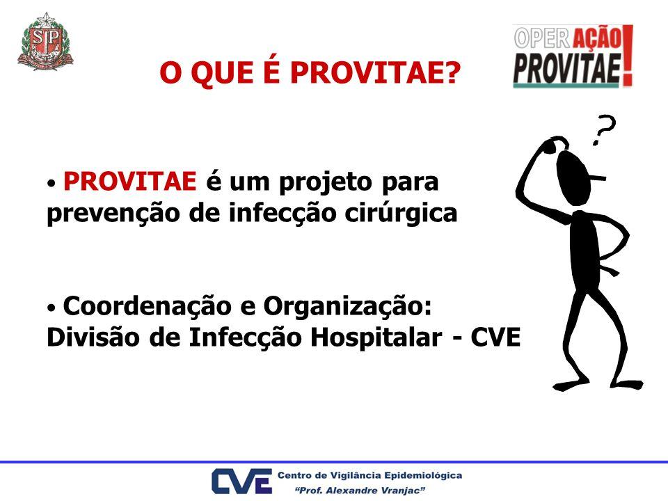O QUE É PROVITAE? PROVITAE é um projeto para prevenção de infecção cirúrgica Coordenação e Organização: Divisão de Infecção Hospitalar - CVE