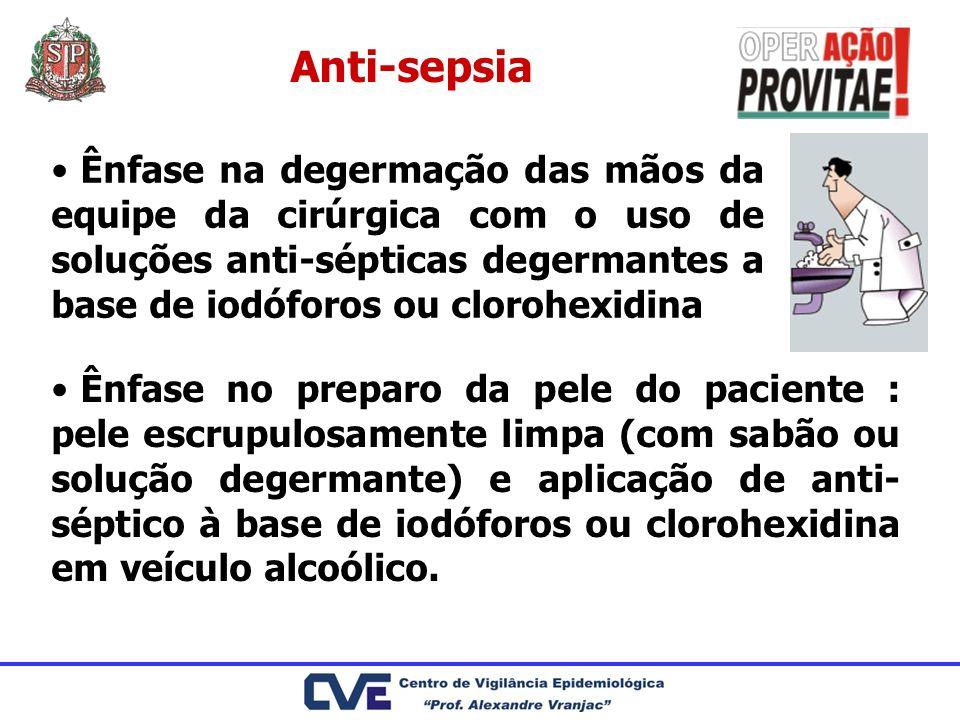 Anti-sepsia Ênfase na degermação das mãos da equipe da cirúrgica com o uso de soluções anti-sépticas degermantes a base de iodóforos ou clorohexidina