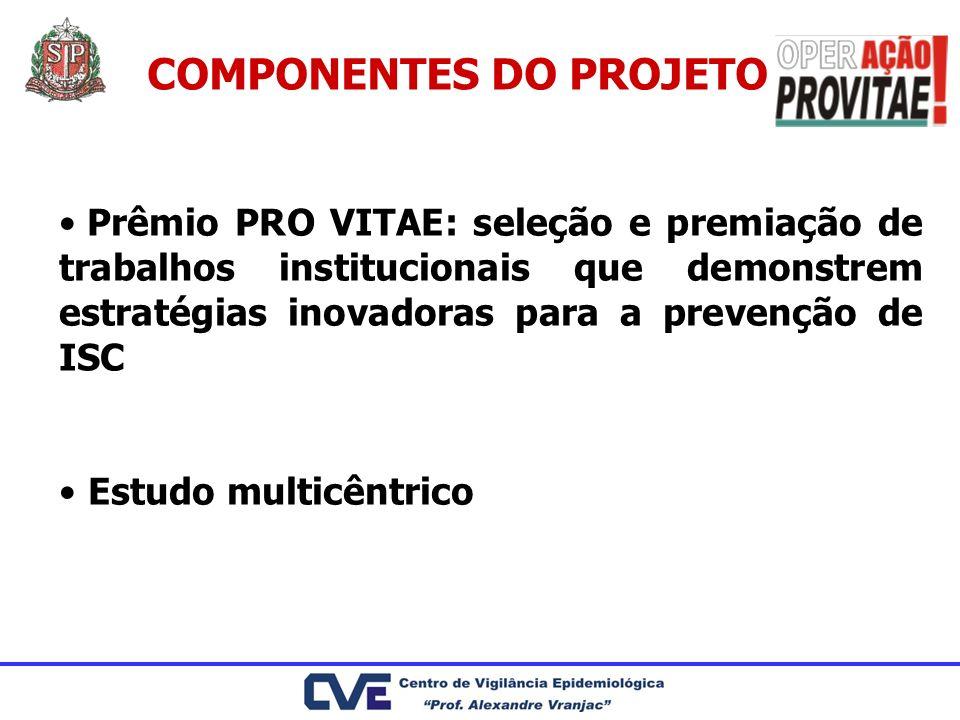 COMPONENTES DO PROJETO Prêmio PRO VITAE: seleção e premiação de trabalhos institucionais que demonstrem estratégias inovadoras para a prevenção de ISC
