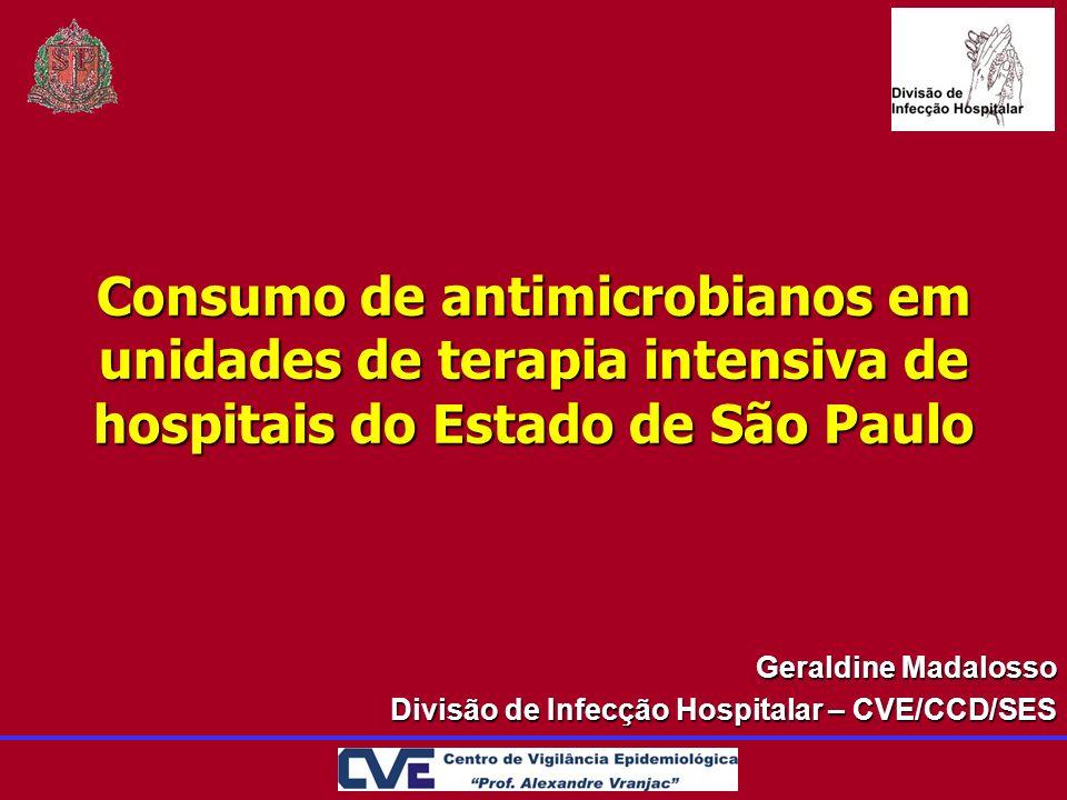 Consumo de antimicrobianos em unidades de terapia intensiva de hospitais do Estado de São Paulo Geraldine Madalosso Divisão de Infecção Hospitalar – C