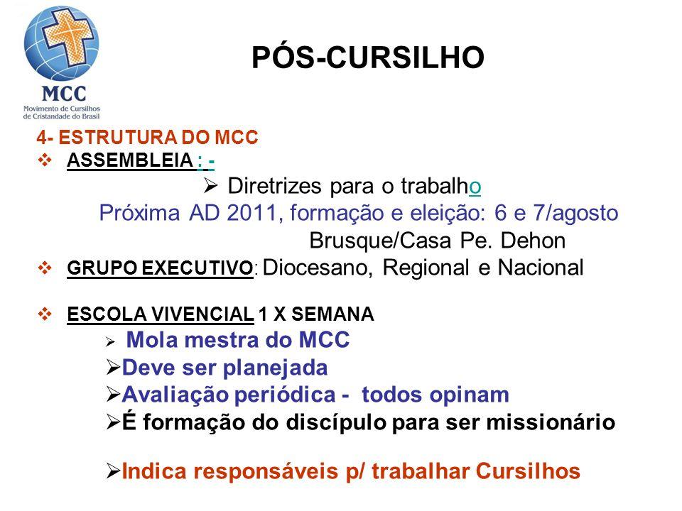 4- ESTRUTURA DO MCC ASSEMBLEIA : -:- Diretrizes para o trabalhoo Próxima AD 2011, formação e eleição: 6 e 7/agosto Brusque/Casa Pe. Dehon GRUPO EXECUT