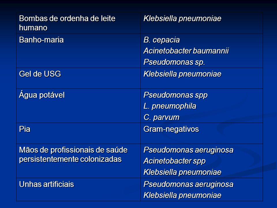 Bombas de ordenha de leite humano Klebsiella pneumoniae Banho-maria B. cepacia Acinetobacter baumannii Pseudomonas sp. Gel de USG Klebsiella pneumonia