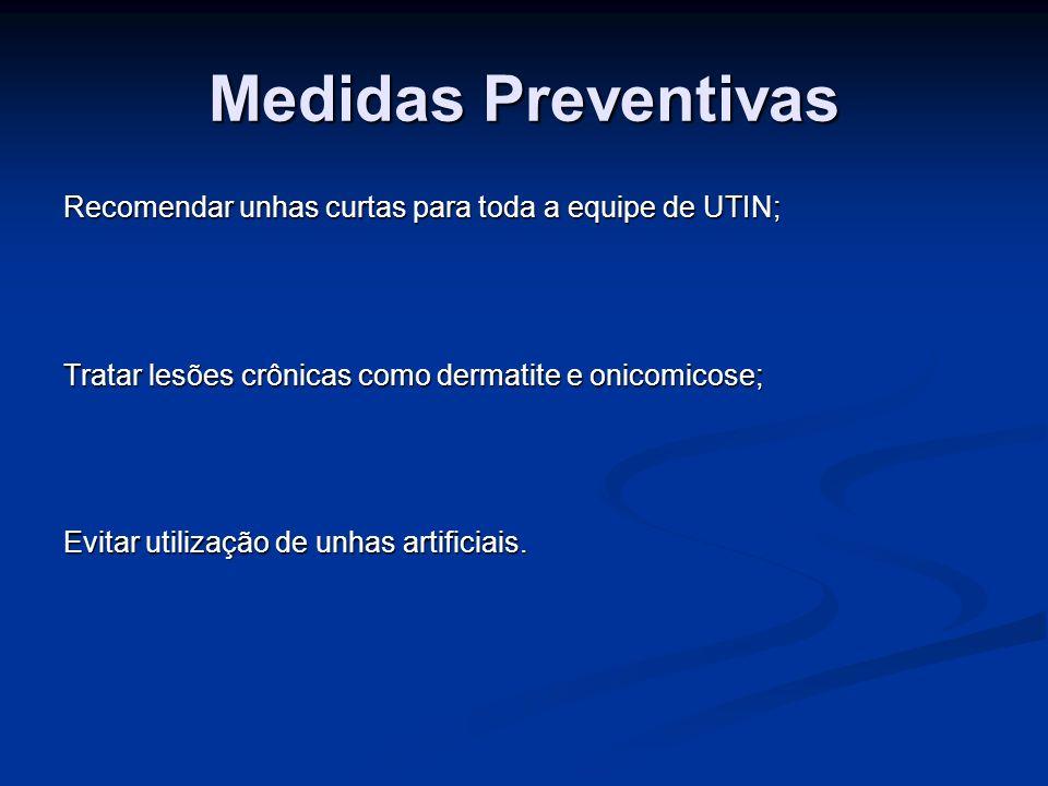 Medidas Preventivas Recomendar unhas curtas para toda a equipe de UTIN; Tratar lesões crônicas como dermatite e onicomicose; Evitar utilização de unha