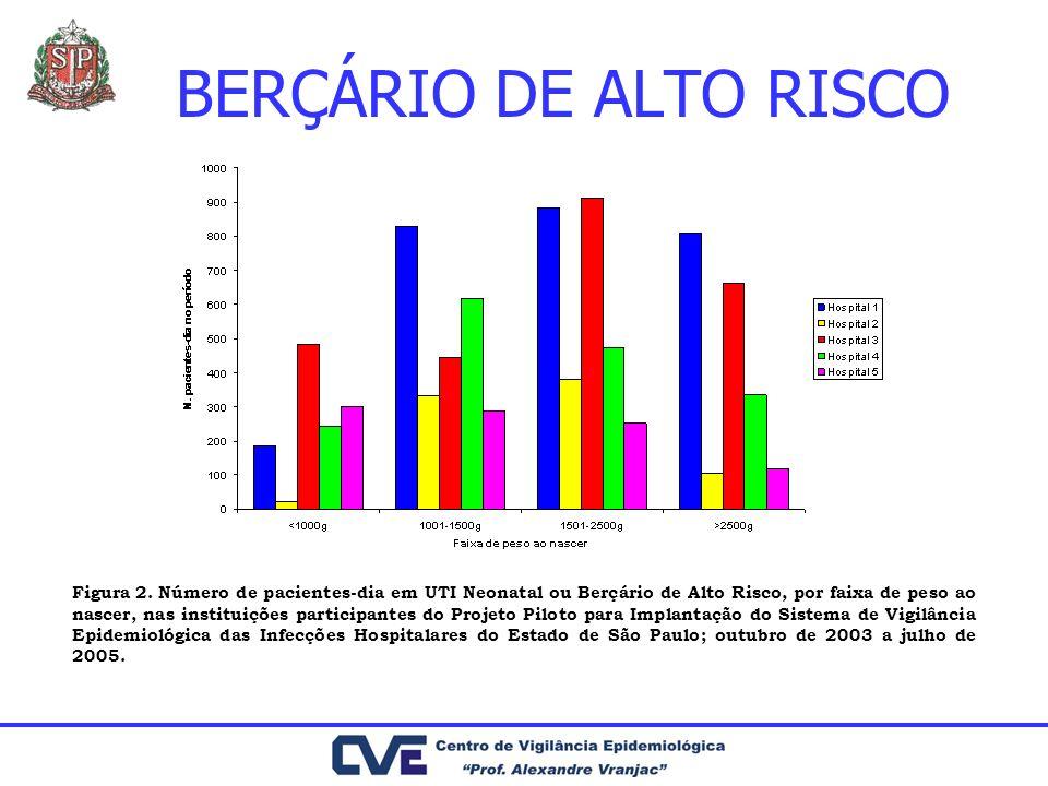BERÇÁRIO DE ALTO RISCO Figura 2. Número de pacientes-dia em UTI Neonatal ou Berçário de Alto Risco, por faixa de peso ao nascer, nas instituições part