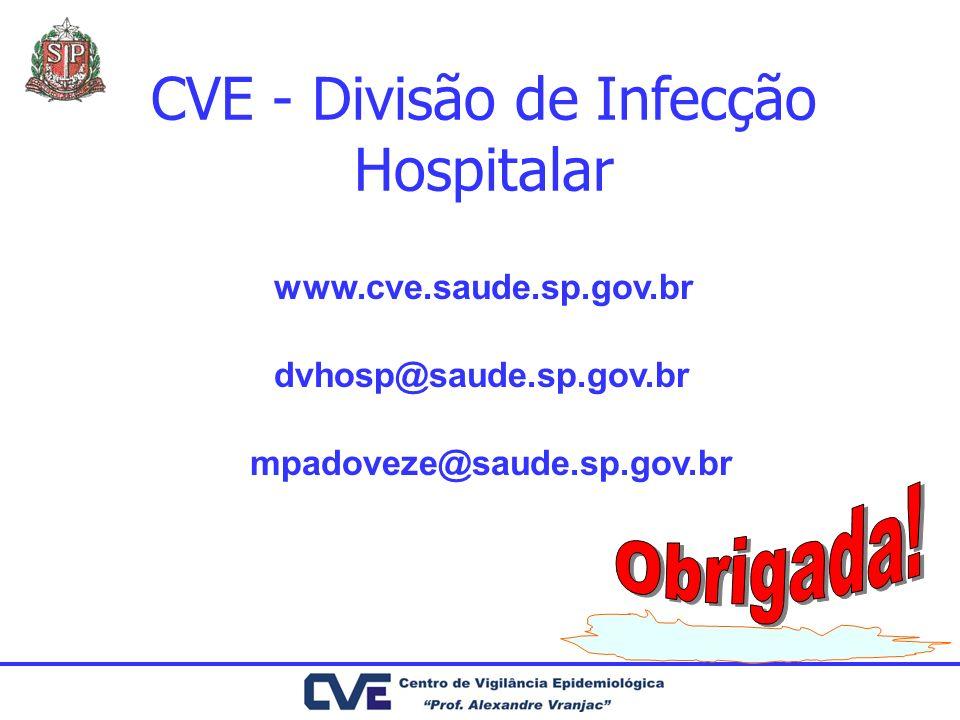 CVE - Divisão de Infecção Hospitalar dvhosp@saude.sp.gov.br www.cve.saude.sp.gov.br mpadoveze@saude.sp.gov.br