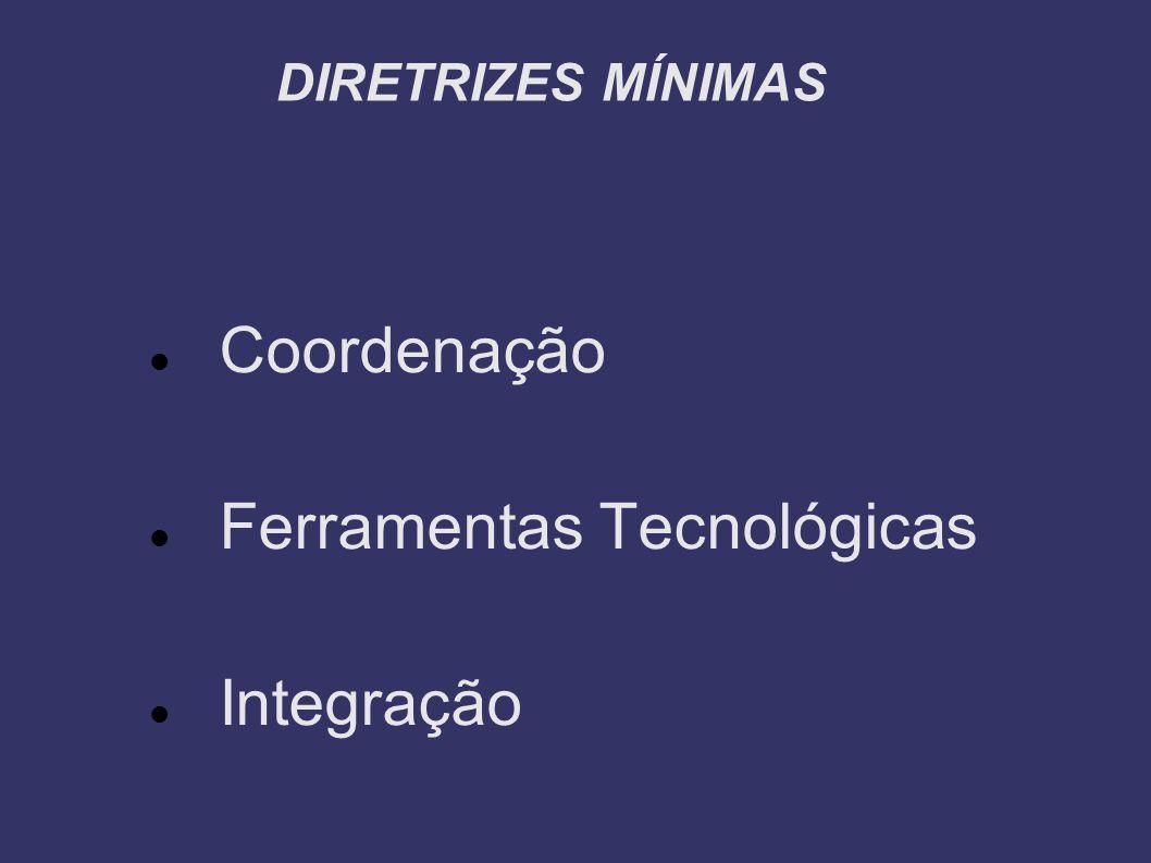 DIRETRIZES MÍNIMAS Coordenação Ferramentas Tecnológicas Integração