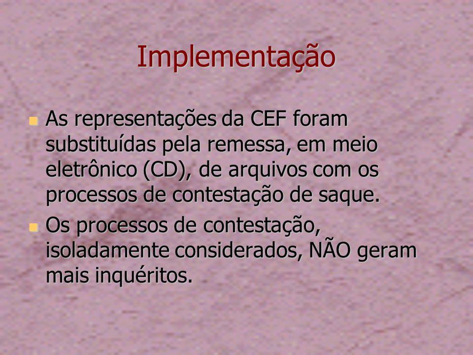 Implementação As representações da CEF foram substituídas pela remessa, em meio eletrônico (CD), de arquivos com os processos de contestação de saque.