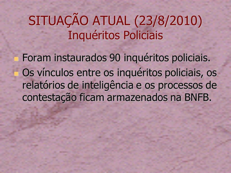 SITUAÇÃO ATUAL (23/8/2010) Inquéritos Policiais Foram instaurados 90 inquéritos policiais.