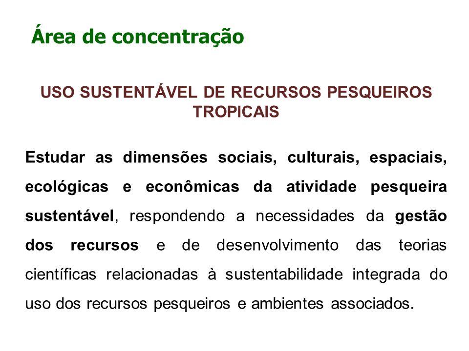 Área de concentração USO SUSTENTÁVEL DE RECURSOS PESQUEIROS TROPICAIS Estudar as dimensões sociais, culturais, espaciais, ecológicas e econômicas da a