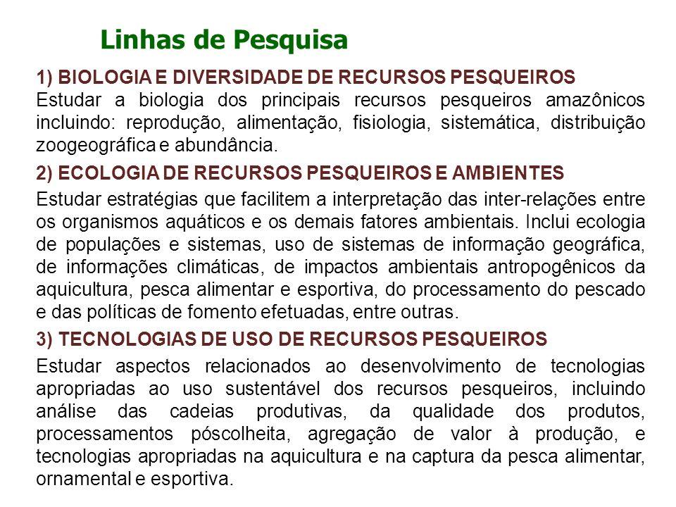Linhas de Pesquisa 1) BIOLOGIA E DIVERSIDADE DE RECURSOS PESQUEIROS Estudar a biologia dos principais recursos pesqueiros amazônicos incluindo: reprod