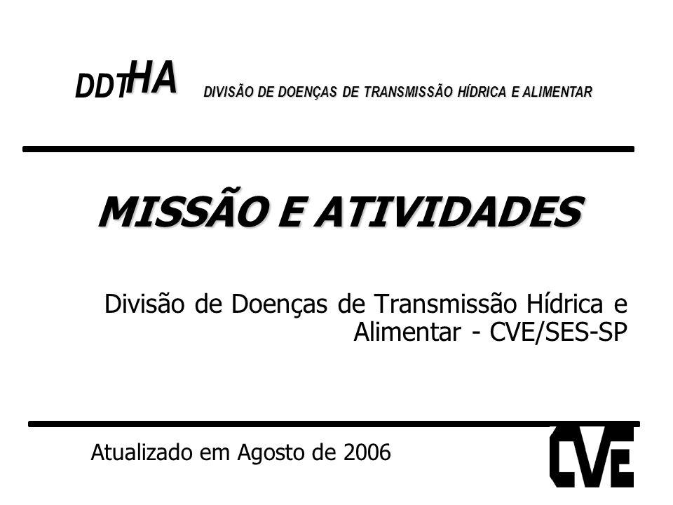 MISSÃO E ATIVIDADES Divisão de Doenças de Transmissão Hídrica e Alimentar - CVE/SES-SP Atualizado em Agosto de 2006 HA DDT DIVISÃO DE DOENÇAS DE TRANS