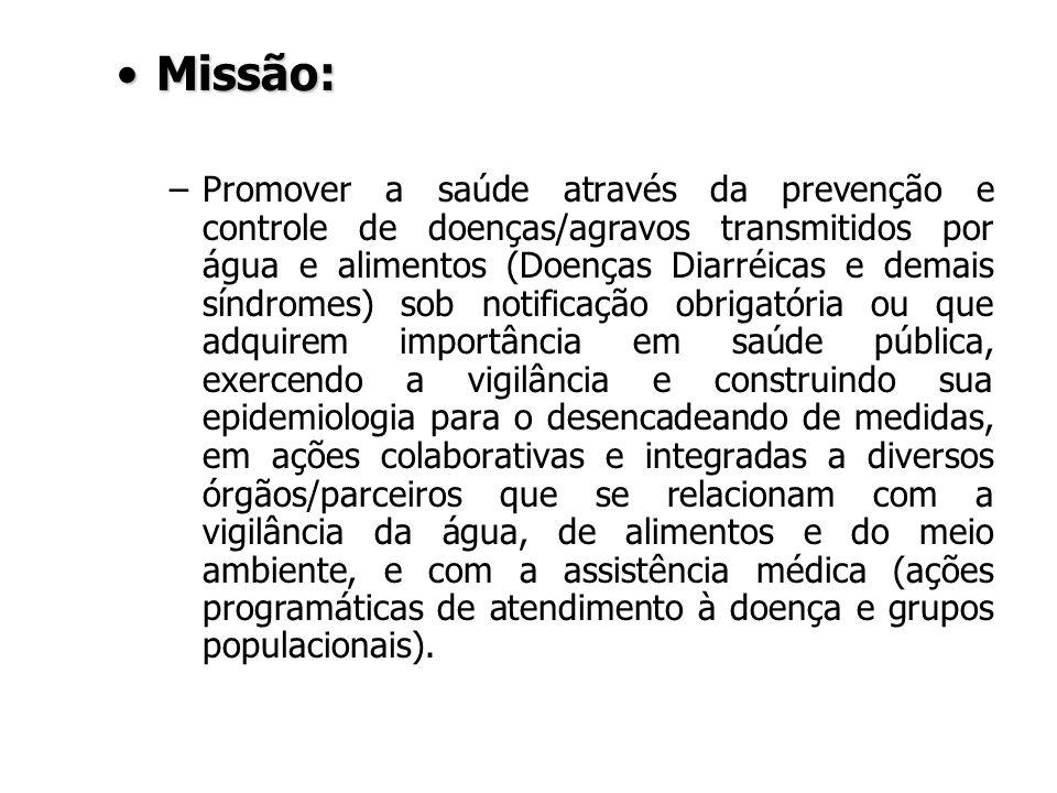 Missão:Missão: –Promover a saúde através da prevenção e controle de doenças/agravos transmitidos por água e alimentos (Doenças Diarréicas e demais sín