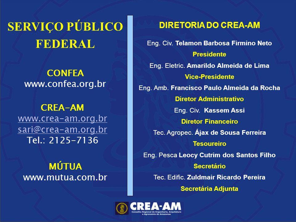 CREA-AM www.crea-am.org.br sari@crea-am.org.br Tel.: 2125-7136 CONFEA www.confea.org.br SERVIÇO PÚBLICO FEDERAL MÚTUA www.mutua.com.br DIRETORIA DO CR