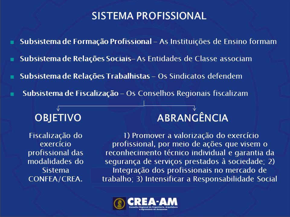 SISTEMA PROFISSIONAL Subsistema de Formação Profissional - As Instituições de Ensino formam Subsistema de Relações Sociais- As Entidades de Classe ass