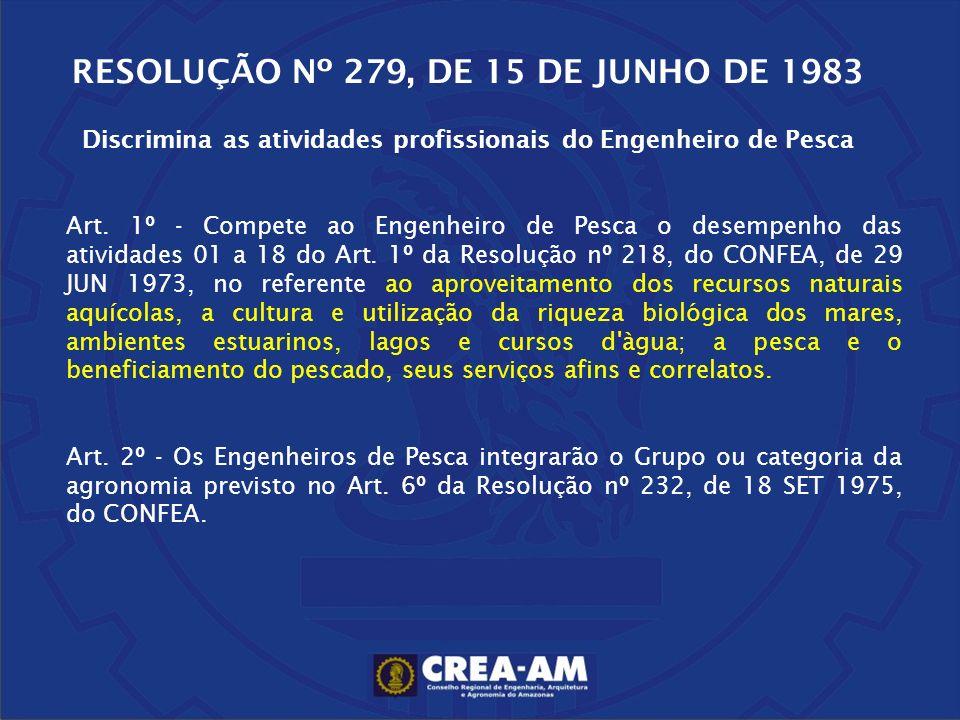 RESOLUÇÃO Nº 279, DE 15 DE JUNHO DE 1983 Discrimina as atividades profissionais do Engenheiro de Pesca Art. 1º - Compete ao Engenheiro de Pesca o dese
