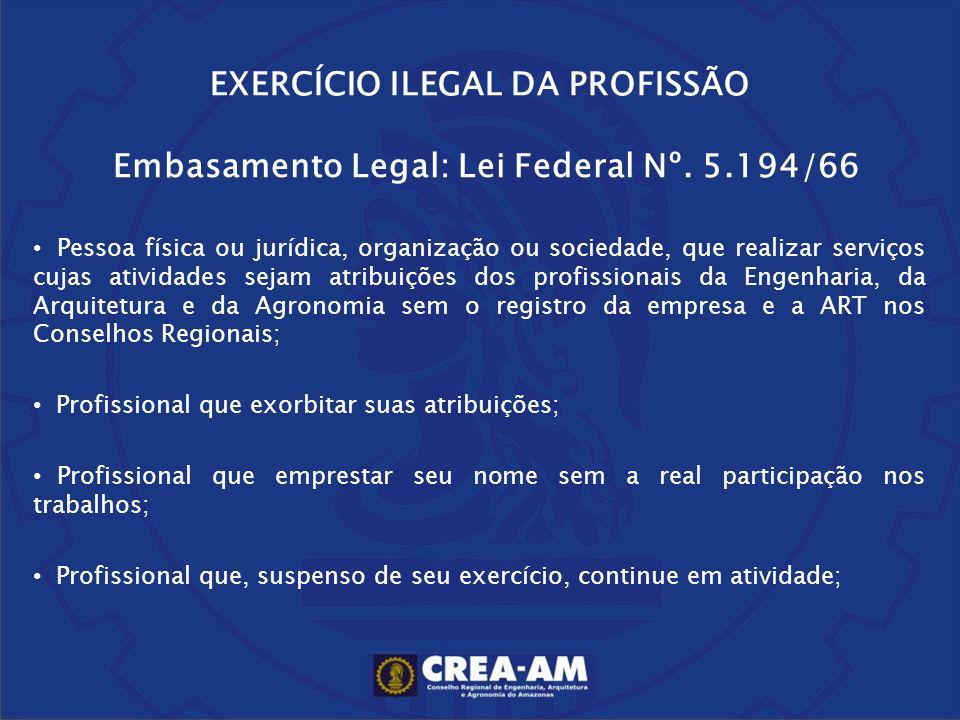 EXERCÍCIO ILEGAL DA PROFISSÃO Embasamento Legal: Lei Federal Nº. 5.194/66 Pessoa física ou jurídica, organização ou sociedade, que realizar serviços c