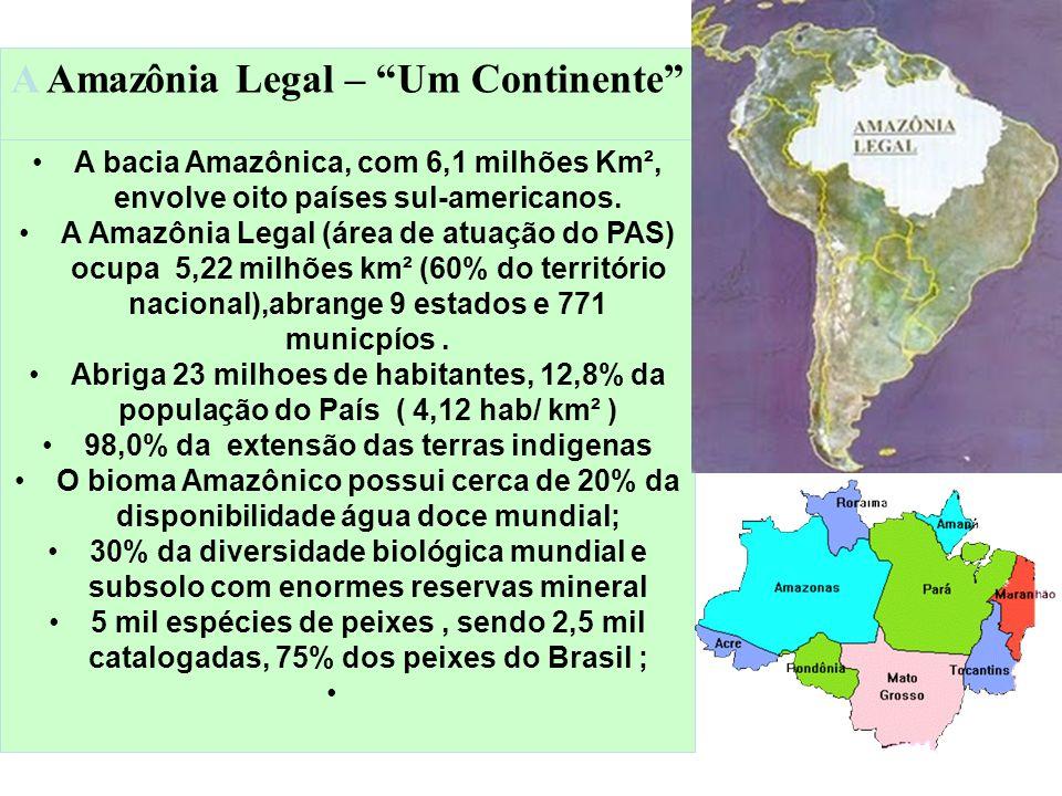 A Amazônia Legal – Um Continente A bacia Amazônica, com 6,1 milhões Km², envolve oito países sul-americanos. A Amazônia Legal (área de atuação do PAS)