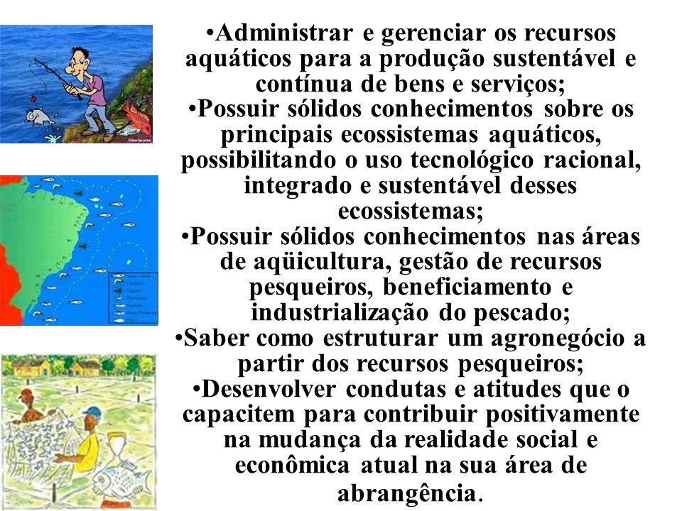 Administrar e gerenciar os recursos aquáticos para a produção sustentável e contínua de bens e serviços; Possuir sólidos conhecimentos sobre os princi