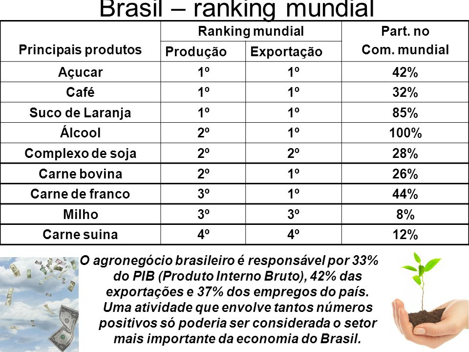 Brasil – ranking mundial Principais produtos Ranking mundialPart. no Com. mundial ProduçãoExportação Açucar1º 42% Café1º 32% Suco de Laranja1º 85% Álc
