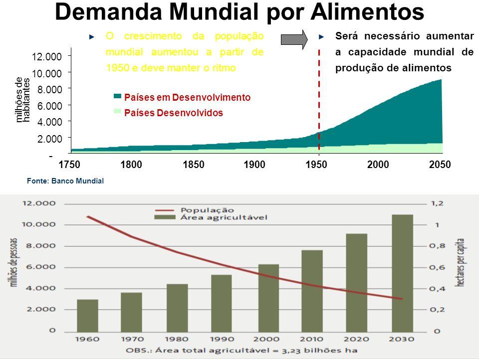 Fonte: Banco Mundial - 2.000 4.000 6.000 8.000 10.000 12.000 1750180018501900195020002050 Países em Desenvolvimento Países Desenvolvidos milhões de ha
