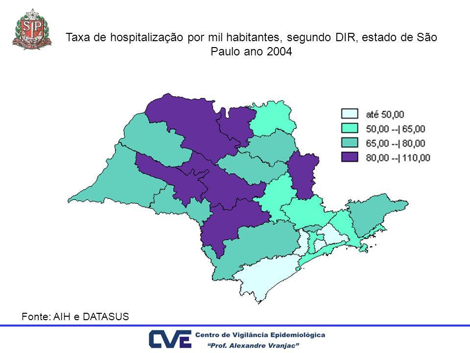 Taxa de hospitalização por mil habitantes, segundo DIR, estado de São Paulo ano 2004 Fonte: AIH e DATASUS
