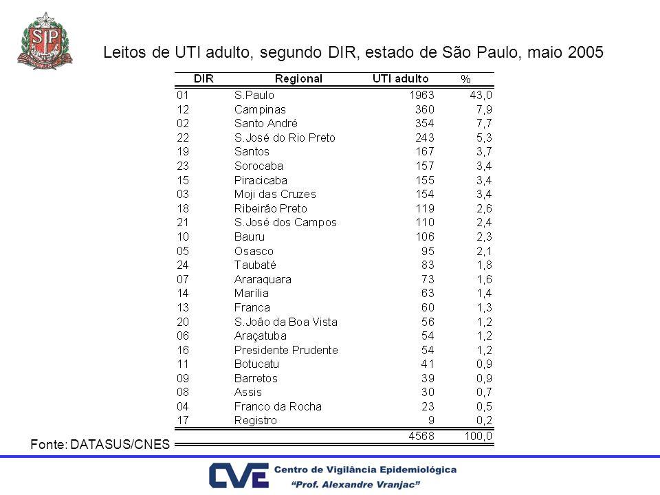 Leitos de UTI adulto, segundo DIR, estado de São Paulo, maio 2005 Fonte: DATASUS/CNES