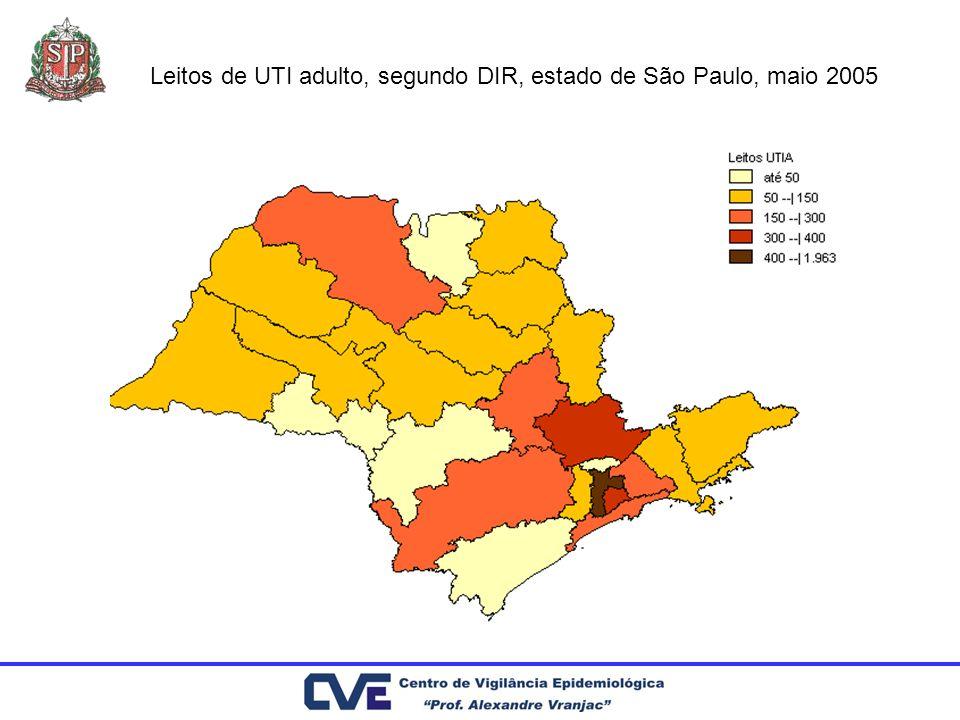 Leitos de UTI adulto, segundo DIR, estado de São Paulo, maio 2005