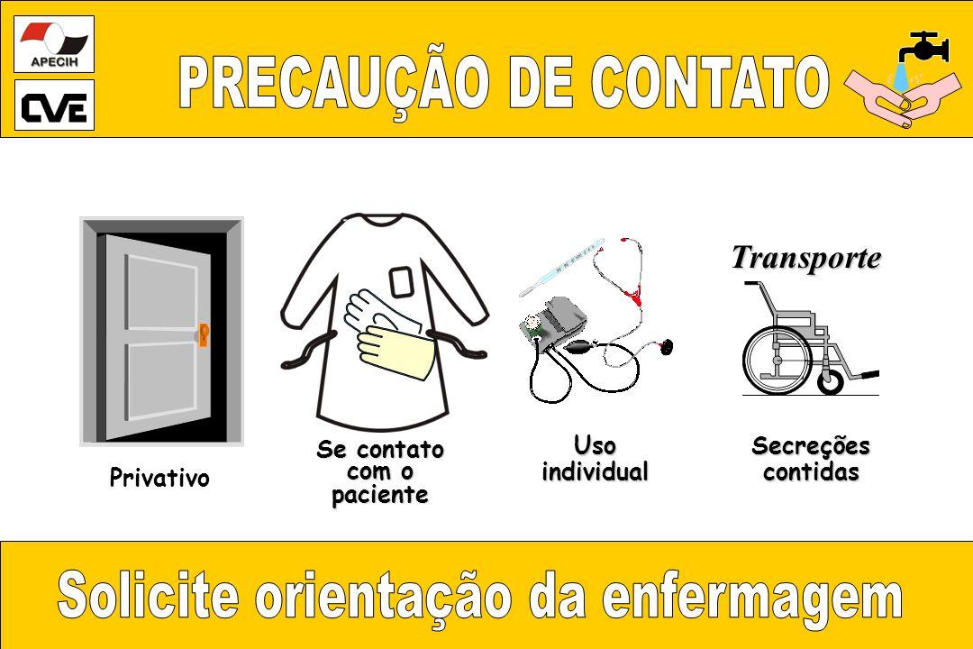 Transporte SecreçõescontidasUsoindividual Se contato com o paciente Privativo