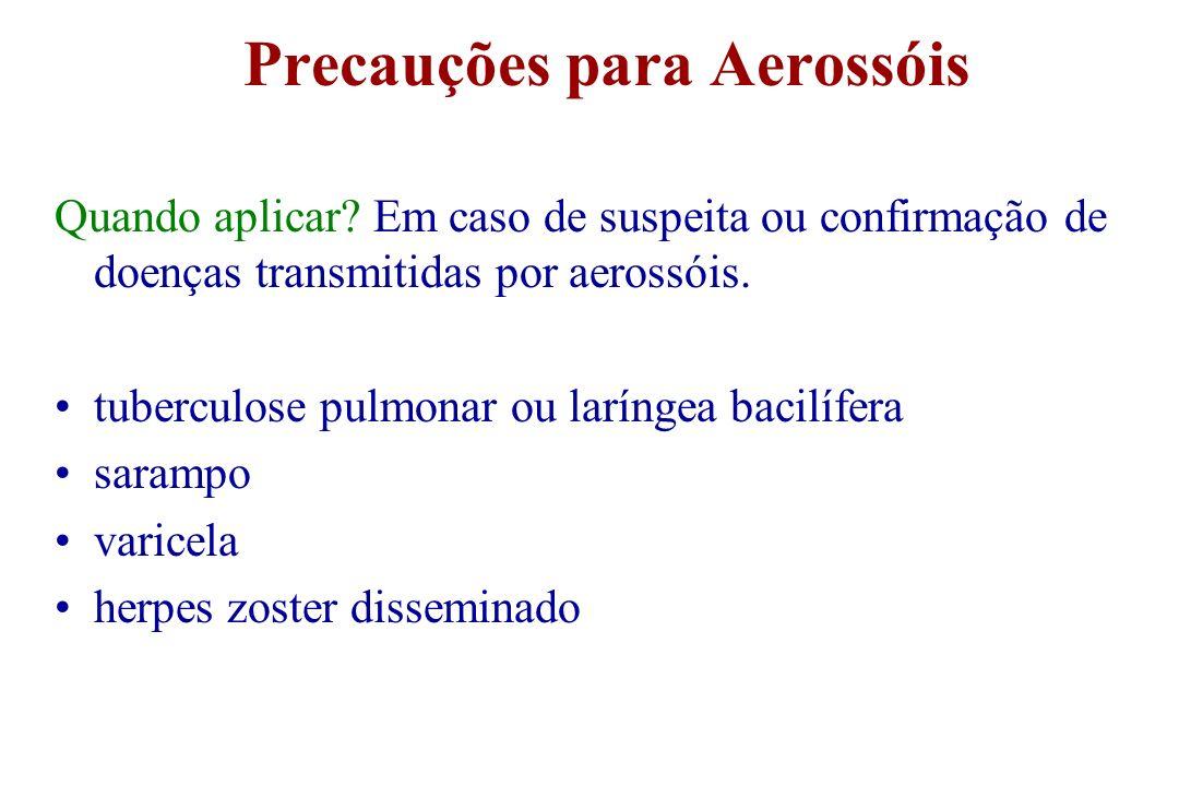 Precauções para Aerossóis Quando aplicar? Em caso de suspeita ou confirmação de doenças transmitidas por aerossóis. tuberculose pulmonar ou laríngea b