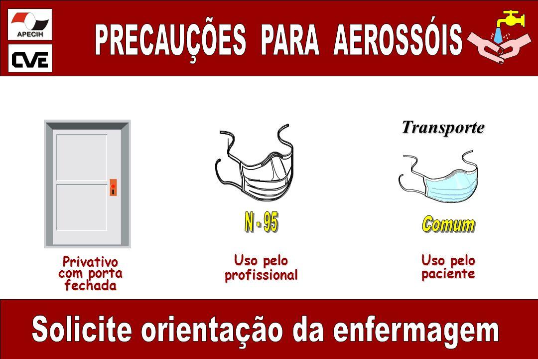 Privativo com porta fechada Uso pelo profissional profissional paciente Transporte