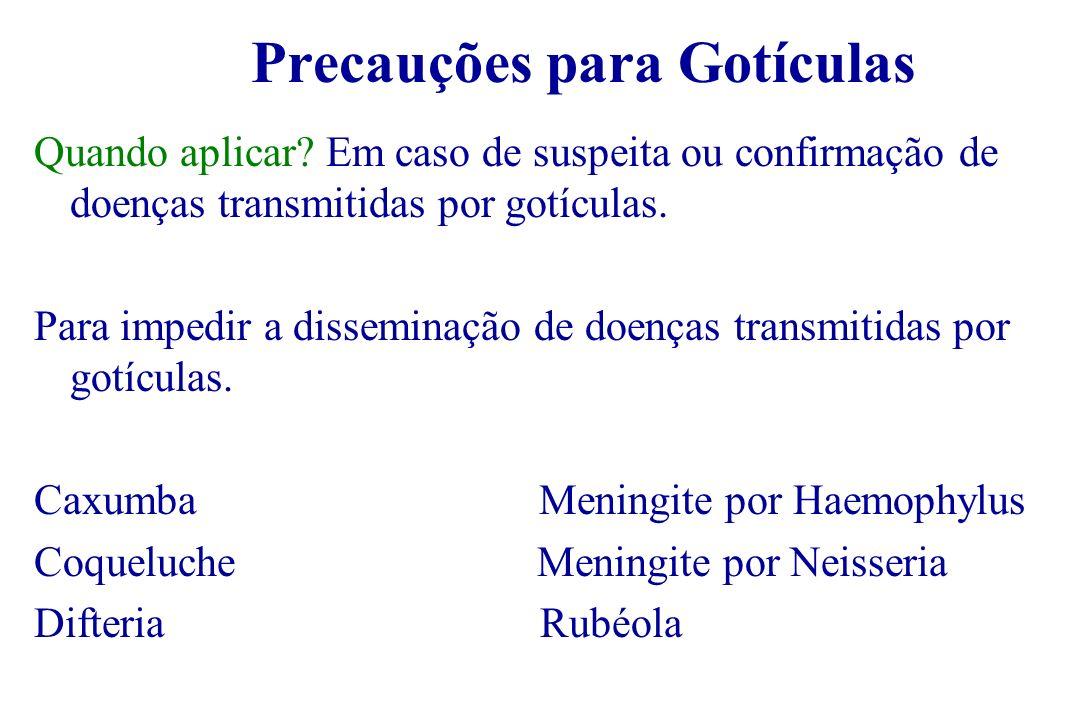 Precauções para Gotículas Quando aplicar? Em caso de suspeita ou confirmação de doenças transmitidas por gotículas. Para impedir a disseminação de doe