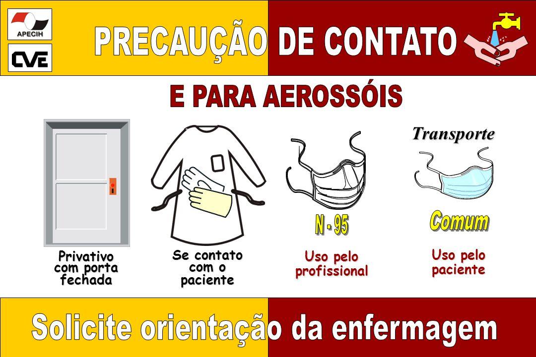Privativo com porta fechada Uso pelo profissional profissional Se contato com o paciente Uso pelo paciente Transporte