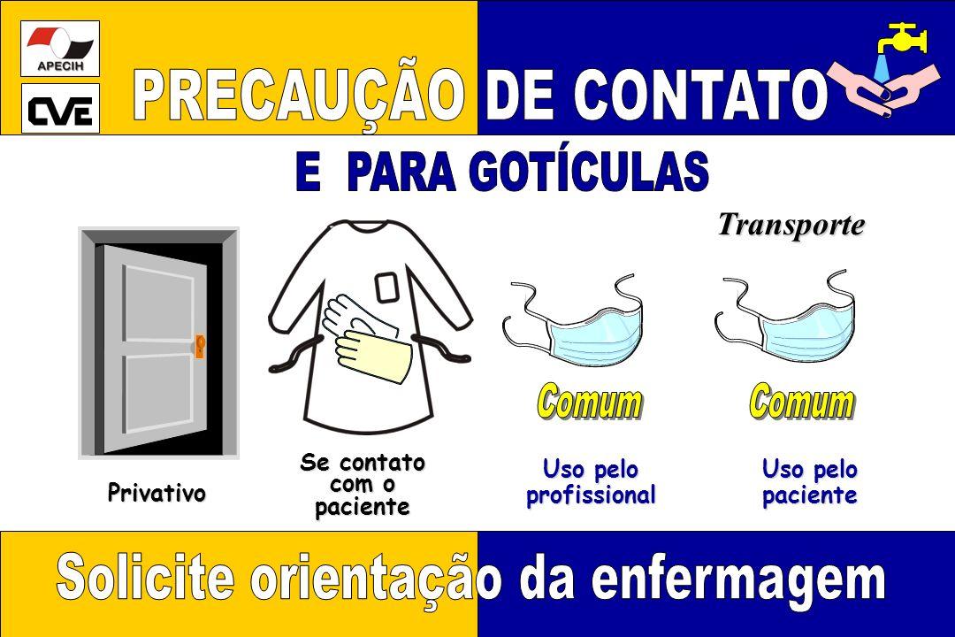 Privativo Se contato com o paciente Uso pelo profissional profissional Transporte paciente