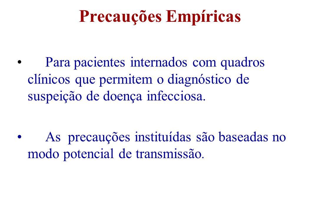 Precauções Empíricas Para pacientes internados com quadros clínicos que permitem o diagnóstico de suspeição de doença infecciosa. As precauções instit