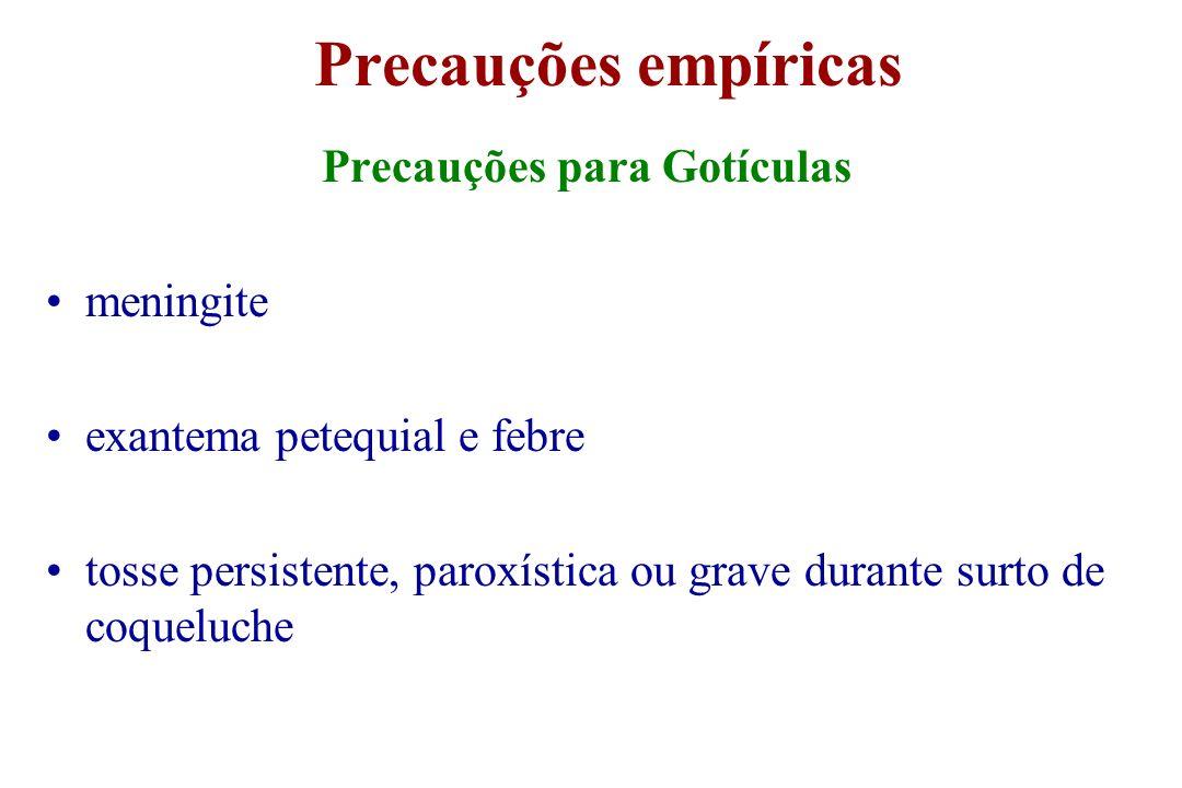Precauções empíricas Precauções para Gotículas meningite exantema petequial e febre tosse persistente, paroxística ou grave durante surto de coqueluch