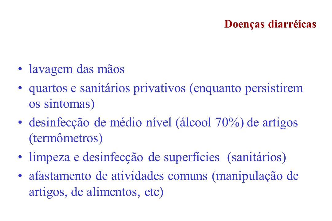 Doenças diarréicas lavagem das mãos quartos e sanitários privativos (enquanto persistirem os sintomas) desinfecção de médio nível (álcool 70%) de arti