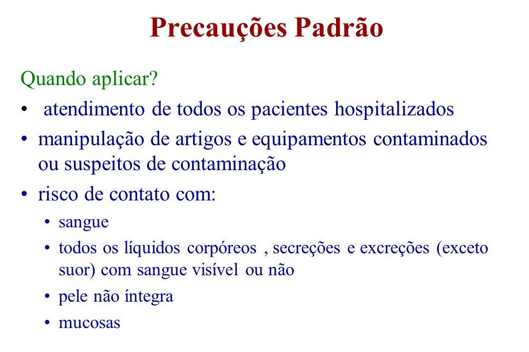 Precauções Padrão Quando aplicar? atendimento de todos os pacientes hospitalizados manipulação de artigos e equipamentos contaminados ou suspeitos de