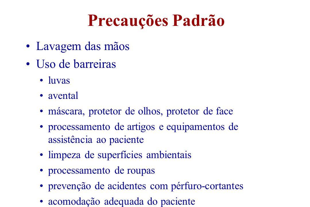 Precauções Padrão Lavagem das mãos Uso de barreiras luvas avental máscara, protetor de olhos, protetor de face processamento de artigos e equipamentos