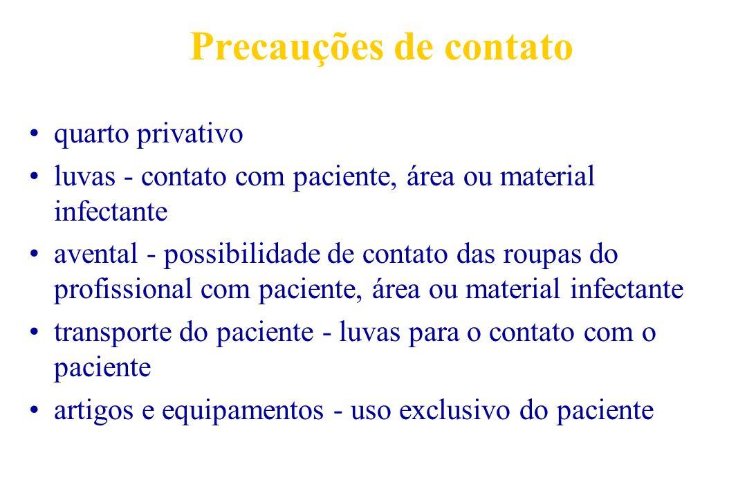 Precauções de contato quarto privativo luvas - contato com paciente, área ou material infectante avental - possibilidade de contato das roupas do prof