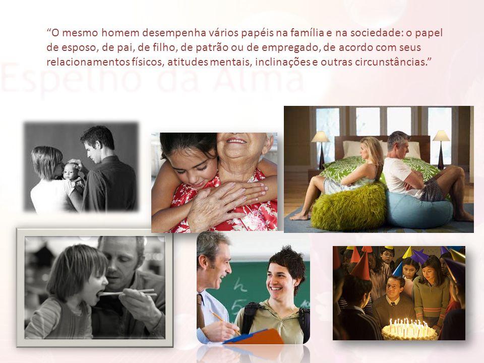 O mesmo homem desempenha vários papéis na família e na sociedade: o papel de esposo, de pai, de filho, de patrão ou de empregado, de acordo com seus r