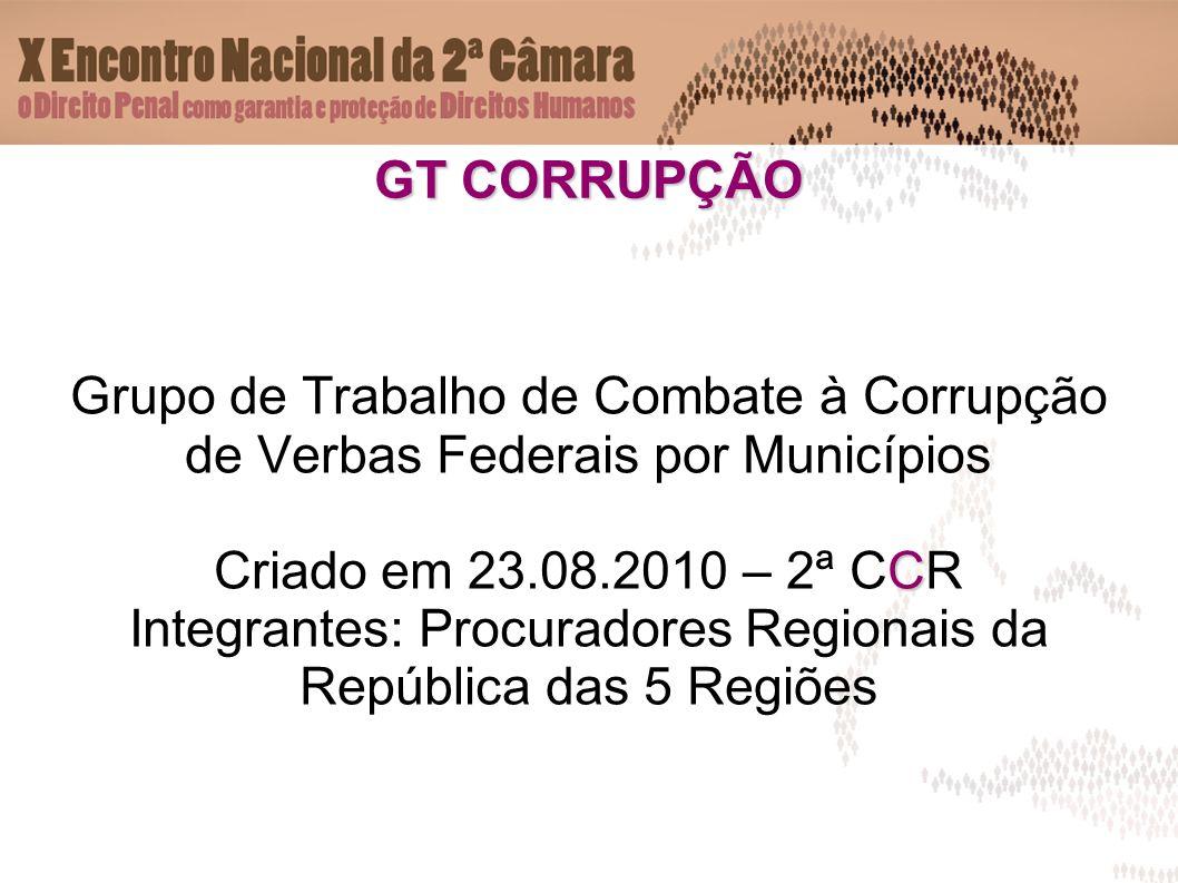 GT CORRUPÇÃO Grupo de Trabalho de Combate à Corrupção de Verbas Federais por Municípios C Criado em 23.08.2010 – 2ª CCR Integrantes: Procuradores Regionais da República das 5 Regiões