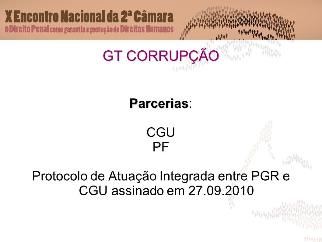 GT CORRUPÇÃO Parcerias Parcerias: CGU PF Protocolo de Atuação Integrada entre PGR e CGU assinado em 27.09.2010