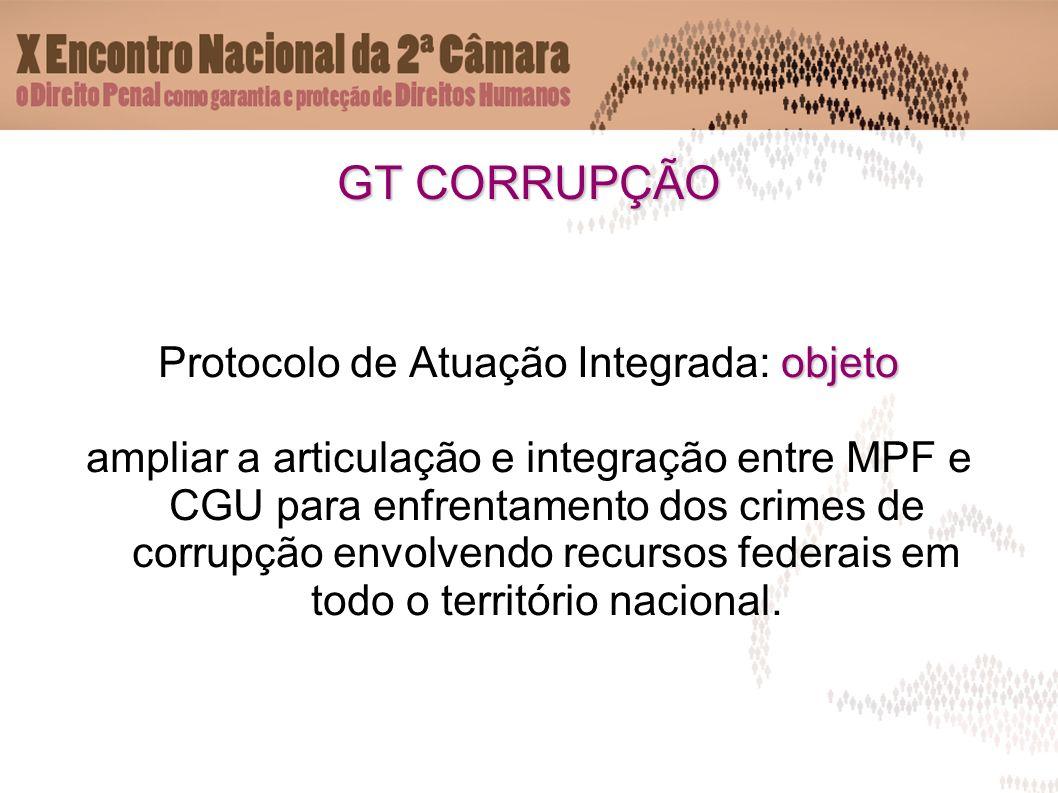 GT CORRUPÇÃO objeto Protocolo de Atuação Integrada: objeto ampliar a articulação e integração entre MPF e CGU para enfrentamento dos crimes de corrupção envolvendo recursos federais em todo o território nacional.