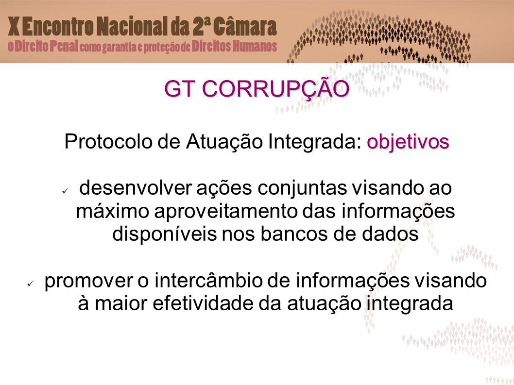 GT CORRUPÇÃO objetivos Protocolo de Atuação Integrada: objetivos desenvolver ações conjuntas visando ao máximo aproveitamento das informações disponív