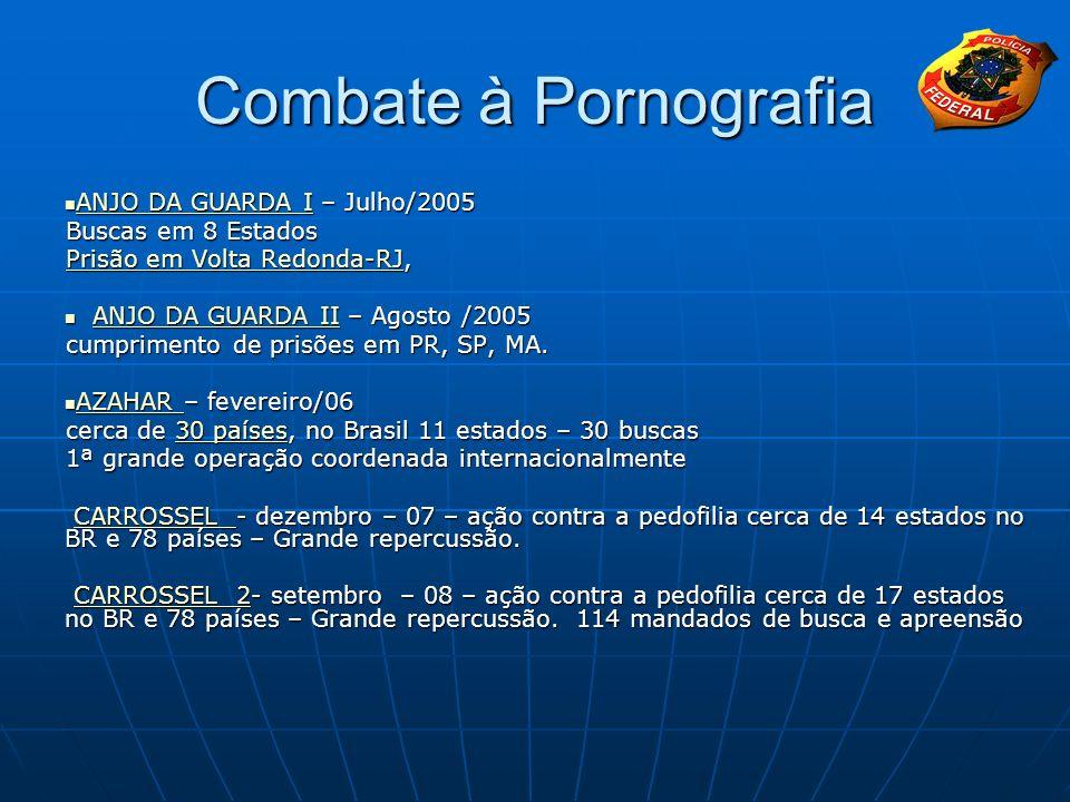 Combate à Pornografia ANJO DA GUARDA I – Julho/2005 ANJO DA GUARDA I – Julho/2005 ANJO DA GUARDA I ANJO DA GUARDA I Buscas em 8 Estados Prisão em Volt