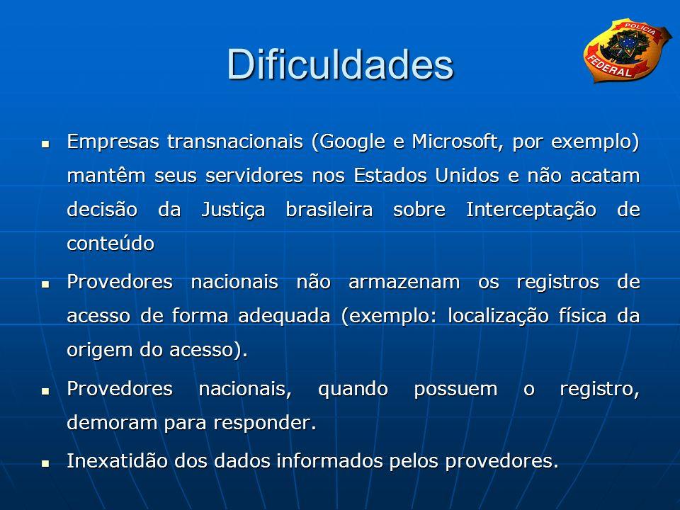 Dificuldades Empresas transnacionais (Google e Microsoft, por exemplo) mantêm seus servidores nos Estados Unidos e não acatam decisão da Justiça brasi
