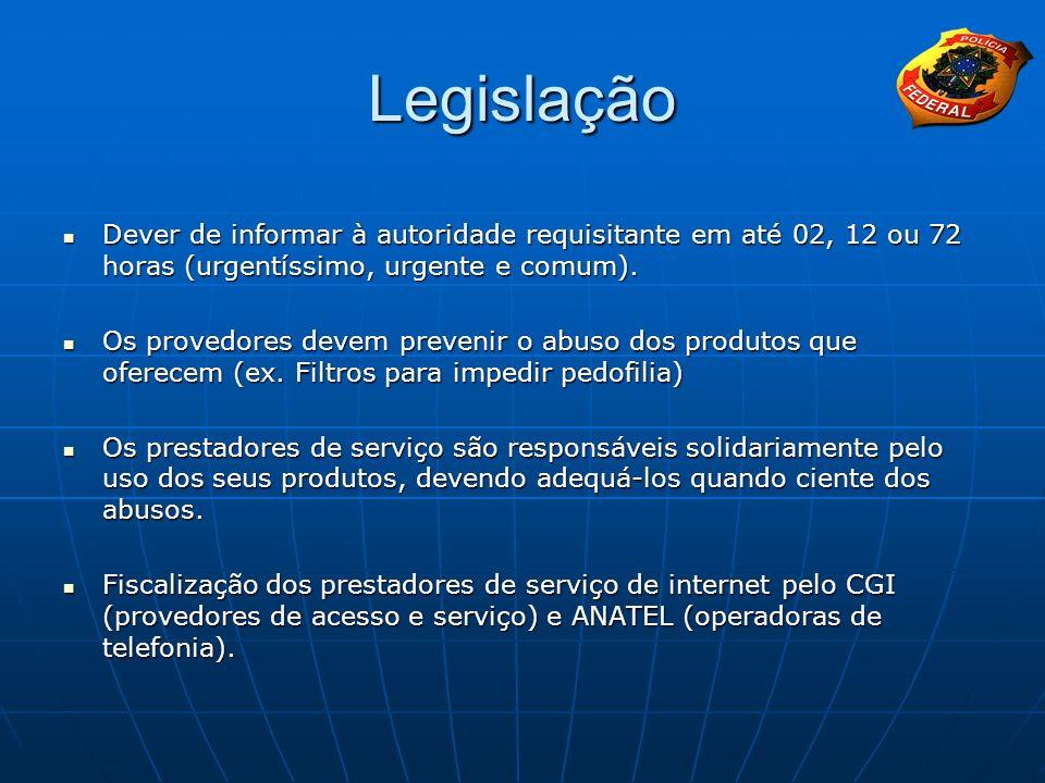 Legislação Dever de informar à autoridade requisitante em até 02, 12 ou 72 horas (urgentíssimo, urgente e comum). Dever de informar à autoridade requi