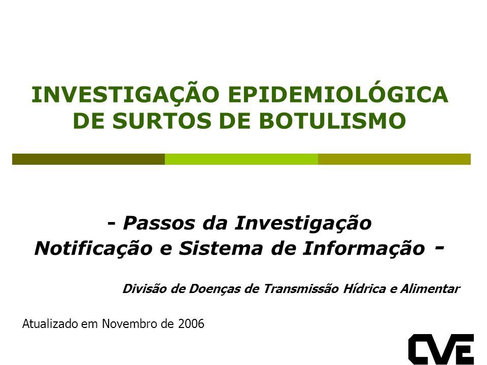 INVESTIGAÇÃO EPIDEMIOLÓGICA DE SURTOS DE BOTULISMO - Passos da Investigação Notificação e Sistema de Informação - Divisão de Doenças de Transmissão Hídrica e Alimentar Atualizado em Novembro de 2006