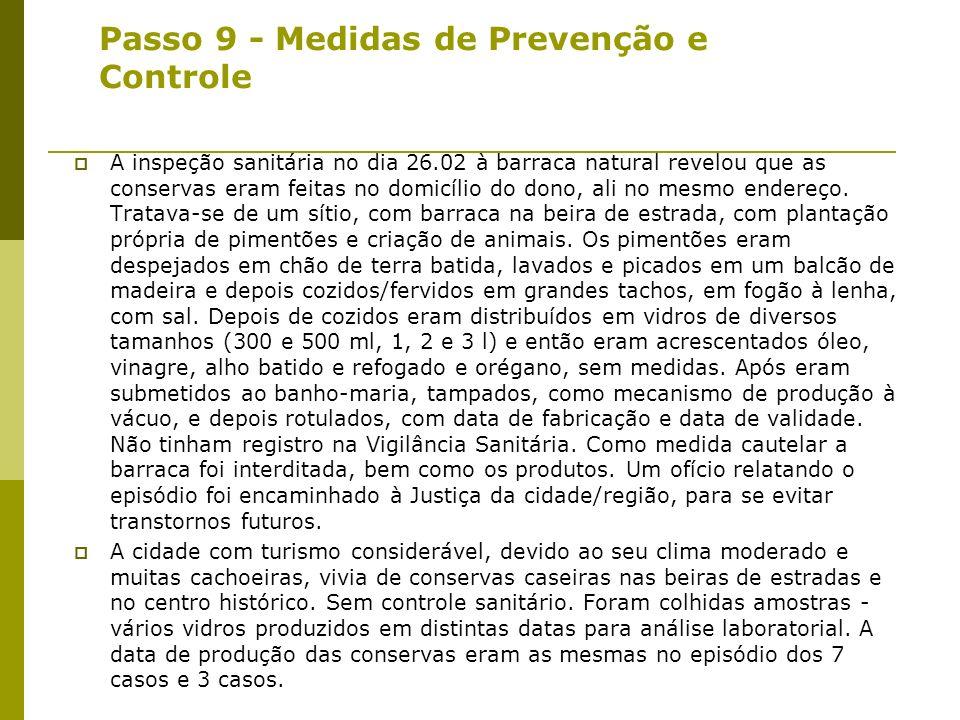 Passo 9 - Implementando o controle e medidas de prevenção: Em relação ao Caso 1 (costureiro) - churrasco - ninguém doente - menos provável para botuli